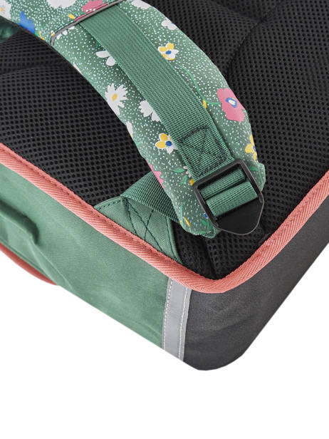 Satchel For Girls 3 Compartments Cameleon Green vintage print girl VIG-CA41 other view 2