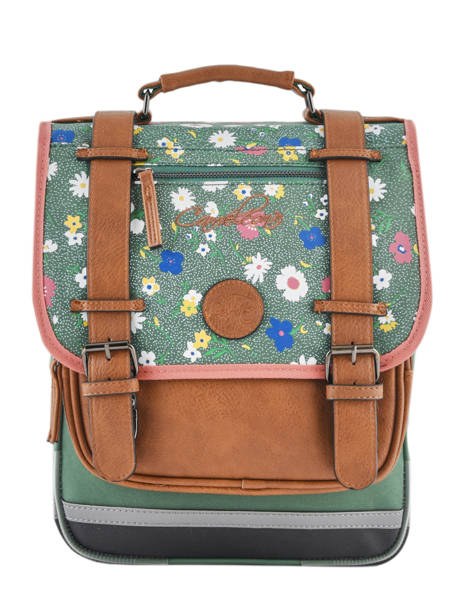 Backpack For Girls 2 Compartments Cameleon Green vintage print girl VIG-SD38