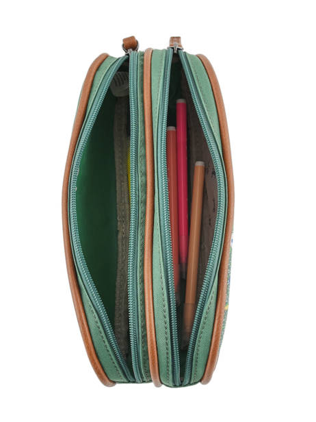 Pencil Case For Girls 2 Compartments Cameleon Green vintage fantasy VIG-TROU other view 1