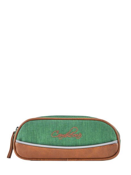 Pencil Case For Kids 2 Compartments Cameleon Green vintage chine VIN-TROU