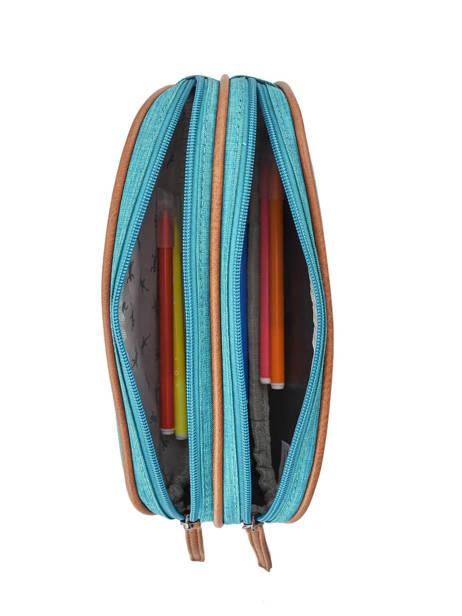 Pencil Case For Kids 2 Compartments Cameleon Blue vintage chine VIN-TROU other view 1