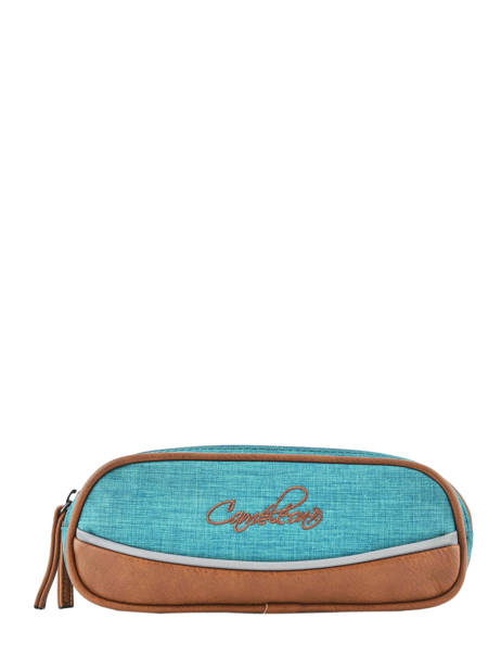 Pencil Case For Kids 2 Compartments Cameleon Blue vintage chine VIN-TROU