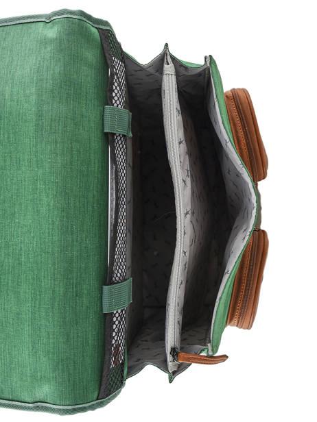 Cartable à Roulettes Enfant 2 Compartiments Cameleon Vert vintage chine VIN-CR38 vue secondaire 5