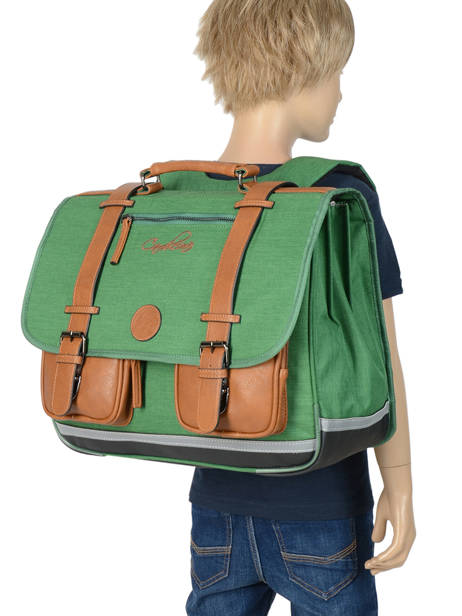Satchel For Kids 3 Compartments Cameleon Green vintage chine VIN-CA41 other view 3