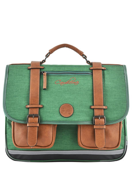 Satchel For Kids 3 Compartments Cameleon Green vintage chine VIN-CA41
