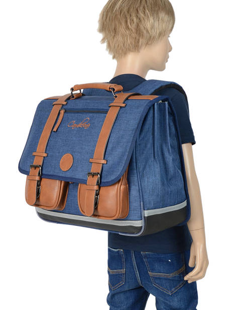 Satchel For Kids 3 Compartments Cameleon Blue vintage chine VIN-CA41 other view 3