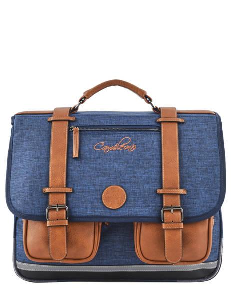Satchel For Kids 3 Compartments Cameleon Blue vintage chine VIN-CA41