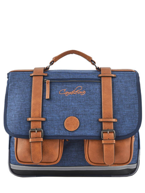 Satchel For Kids 3 Compartments Cameleon Blue vintage chine VIN-CA41