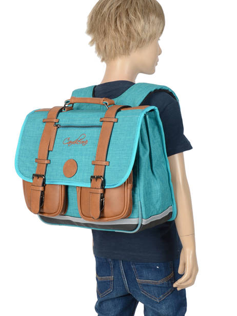 Satchel For Kids 2 Compartments Cameleon Blue vintage chine VIN-CA38 other view 3
