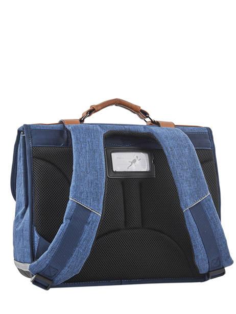 Cartable Enfant 2 Compartiments Cameleon Bleu vintage chine VIN-CA38 vue secondaire 4