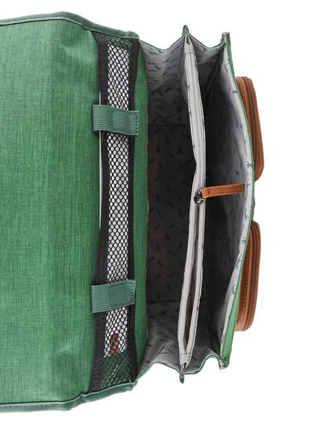 Cartable Enfant 2 Compartiments Cameleon Vert vintage chine VIN-CA35 vue secondaire 5