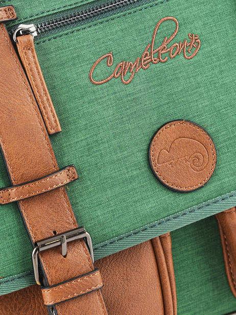 Cartable Enfant 2 Compartiments Cameleon Vert vintage chine VIN-CA35 vue secondaire 1