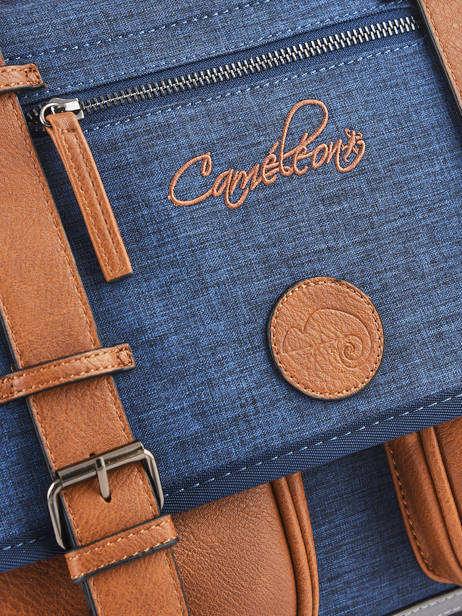 Cartable Enfant 2 Compartiments Cameleon Bleu vintage chine VIN-CA35 vue secondaire 1