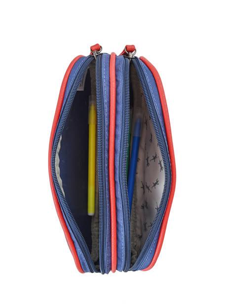 Pencil Case For Boy 2 Compartments Cameleon Blue vintage print boy VIB-TROU other view 1