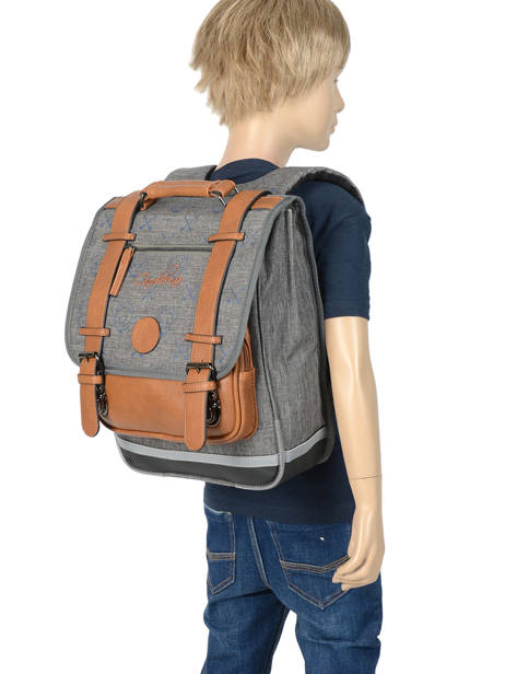 Backpack For Boys 2 Compartments Cameleon Gray vintage print boy VIB-SD38 other view 3