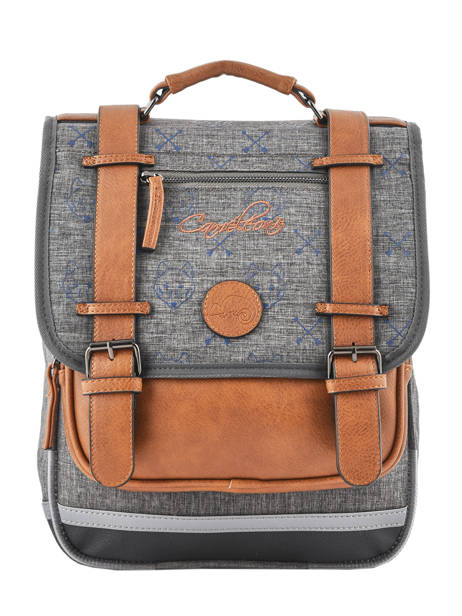 Backpack For Boys 2 Compartments Cameleon Gray vintage print boy VIB-SD38