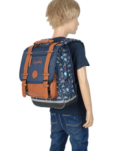 Backpack For Boys 2 Compartments Cameleon Blue vintage print boy VIB-SD38 other view 3