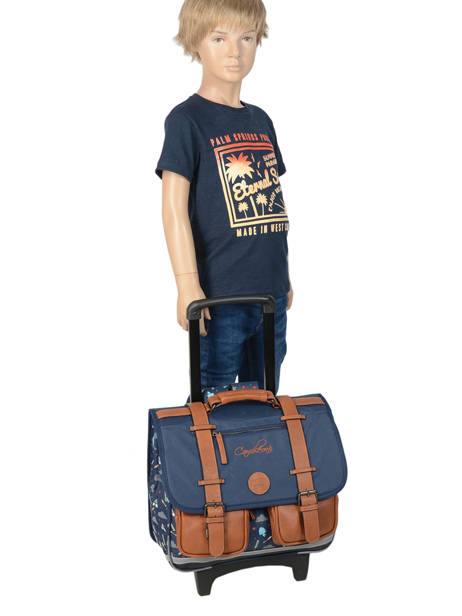 Wheeled Schoolbag For Boys 2 Compartments Cameleon Blue vintage urban VIB-CR38 other view 2