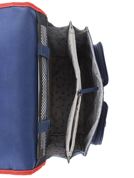 Wheeled Schoolbag For Boys 2 Compartments Cameleon Blue vintage print boy VIB-CR38 other view 6