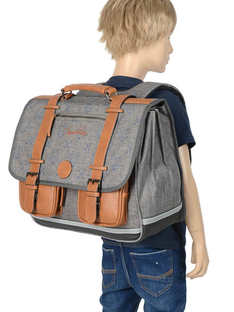 Cartable Garçon 3 Compartiments Cameleon Gris vintage print boy VIB-CA41 vue secondaire 3