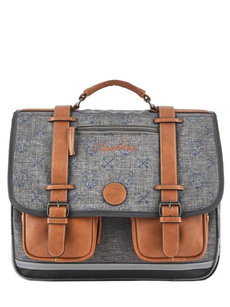 Satchel For Boys 3 Compartments Cameleon Gray vintage print boy VIB-CA41