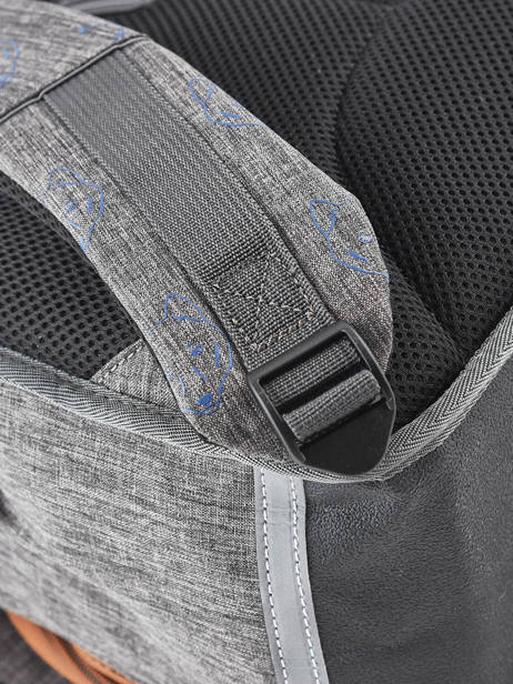 Cartable Garçon 3 Compartiments Cameleon Gris vintage print boy VIB-CA41 vue secondaire 2