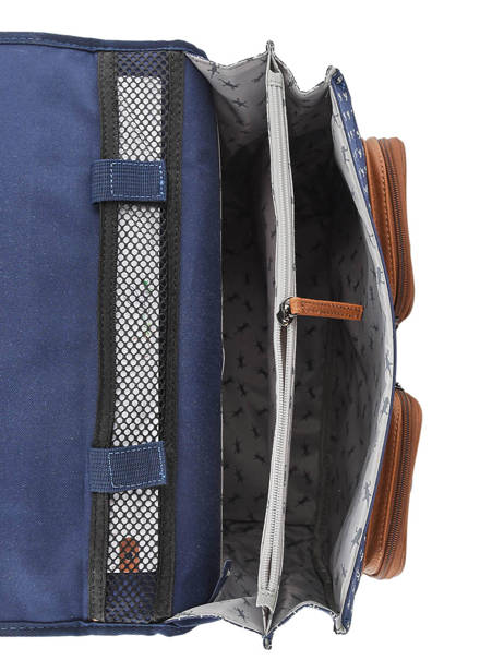 Satchel For Boys 2 Compartments Cameleon Blue vintage print boy VIB-CA38 other view 6