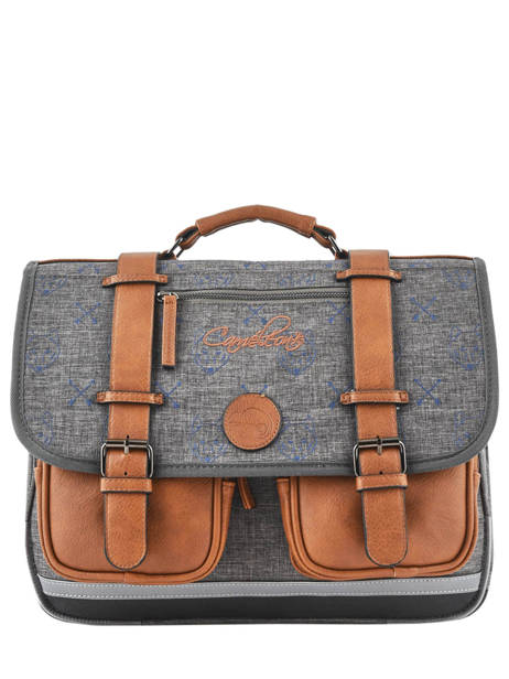 Satchel For Boys 2 Compartments Cameleon Gray vintage print boy VIB-CA38