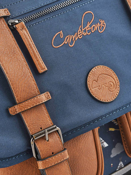 Satchel For Boys 2 Compartments Cameleon Blue vintage urban VIB-CA38 other view 1