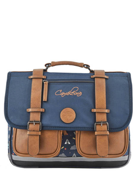 Satchel For Boys 2 Compartments Cameleon Blue vintage urban VIB-CA38