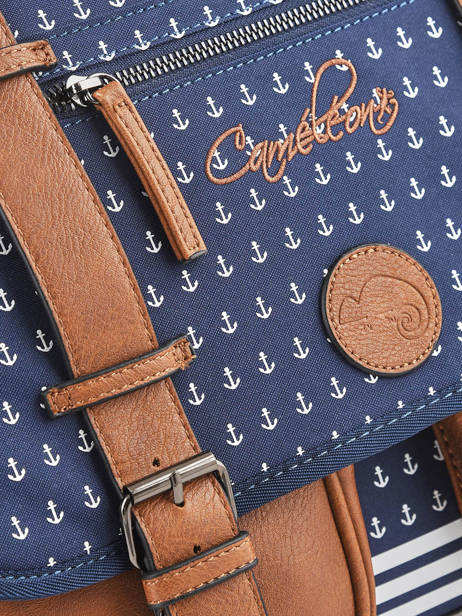 Satchel For Boys 2 Compartments Cameleon Blue vintage print boy VIB-CA35 other view 1
