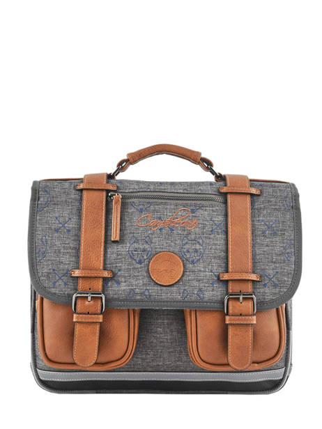 Satchel For Boys 2 Compartments Cameleon Gray vintage print boy VIB-CA35