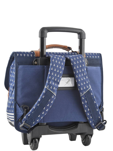 Wheeled Schoolbag For Boys 2 Compartments Cameleon Blue vintage print boy VIB-CR38 other view 5