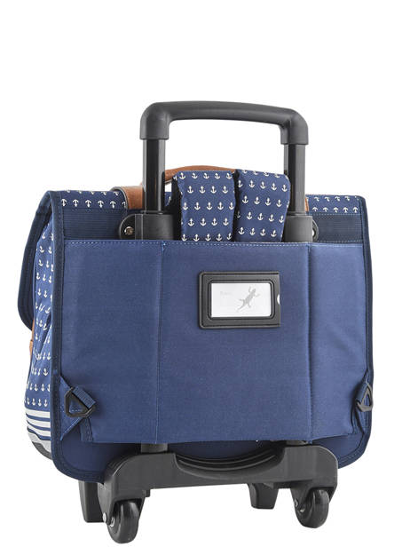 Wheeled Schoolbag For Boys 2 Compartments Cameleon Blue vintage print boy VIB-CR38 other view 4