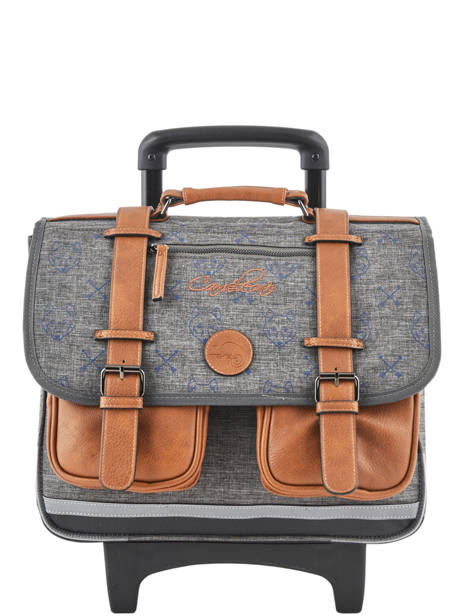 Wheeled Schoolbag For Boys 2 Compartments Cameleon Gray vintage print boy VIB-CR38