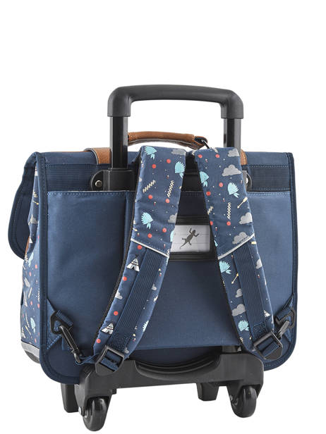Wheeled Schoolbag For Boys 2 Compartments Cameleon Blue vintage urban VIB-CR38 other view 5