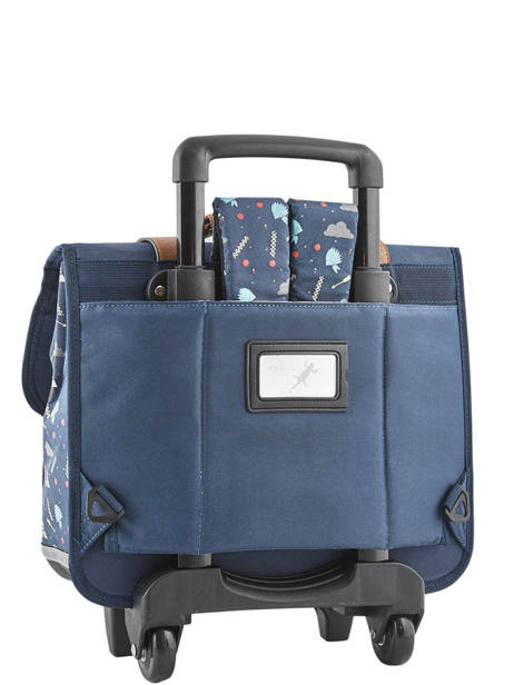 Wheeled Schoolbag For Boys 2 Compartments Cameleon Blue vintage urban VIB-CR38 other view 4
