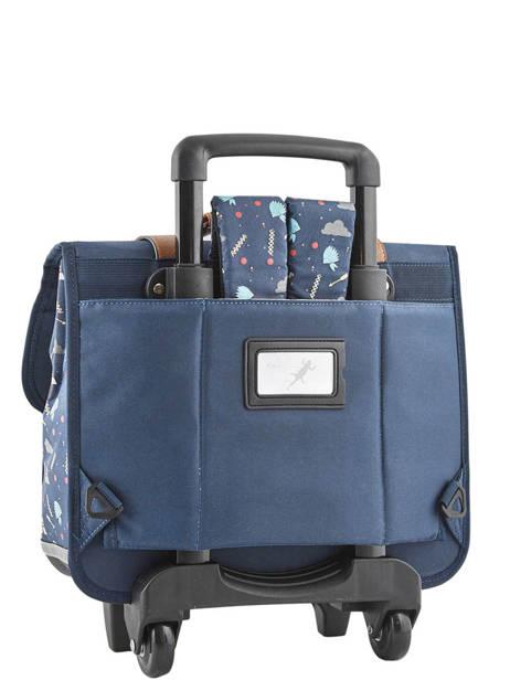 Cartable à Roulettes Enfant 2 Compartiments Cameleon Bleu vintage urban CR38 vue secondaire 4