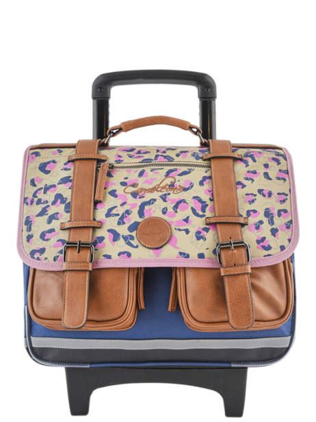 Wheeled Schoolbag For Girls 2 Compartments Cameleon Multicolor vintage print girl VIG-CR38