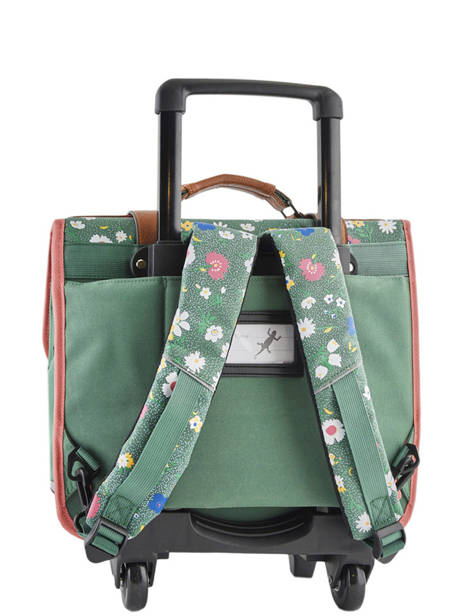 Wheeled Schoolbag For Girls 2 Compartments Cameleon Green vintage print girl VIG-CR38 other view 5