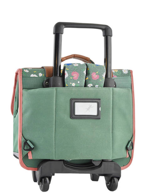 Wheeled Schoolbag For Girls 2 Compartments Cameleon Green vintage print girl VIG-CR38 other view 4