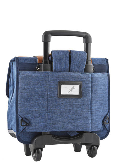 Cartable à Roulettes Enfant 2 Compartiments Cameleon Bleu vintage chine VIN-CR38 vue secondaire 3
