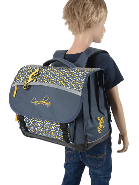 Satchel For Kids 3 Compartments Cameleon Blue actual BAS-CA41 other view 3