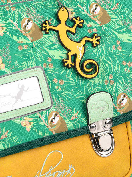 Satchel For Kids 2 Compartments Cameleon Green retro RET-CA35 other view 1