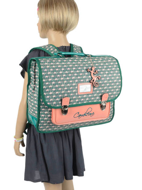 Satchel For Kids 2 Compartments Cameleon Green retro RET-CA38 other view 3
