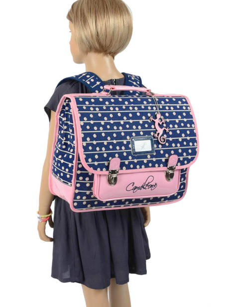 Cartable Enfant 2 Compartiments Cameleon Bleu retro RET-CA38 vue secondaire 3