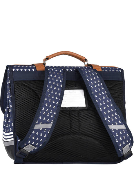 Satchel For Boys 3 Compartments Cameleon Blue vintage print boy VIB-CA41 other view 4
