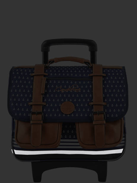 Wheeled Schoolbag For Boys 2 Compartments Cameleon Blue vintage print boy VIB-CR38 other view 7