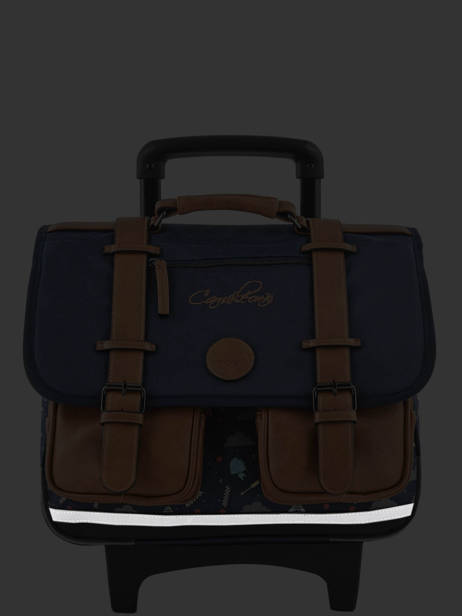 Wheeled Schoolbag For Boys 2 Compartments Cameleon Blue vintage urban VIB-CR38 other view 7