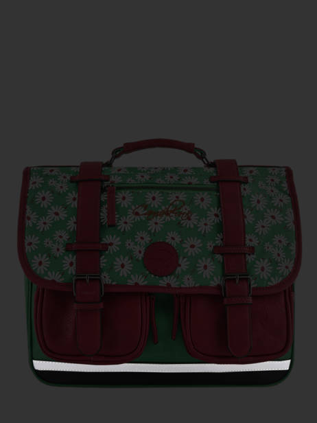 Satchel For Girls 2 Compartments Cameleon Green vintage print girl VIG-CA35 other view 6